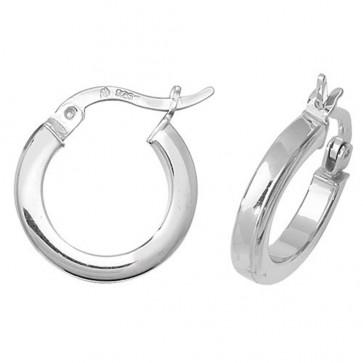 Sterling Silver 15MM Plain Square Tube Hoop Earrings