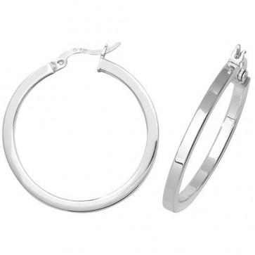 Sterling Silver 30MM Plain Square Tube Hoop Earrings