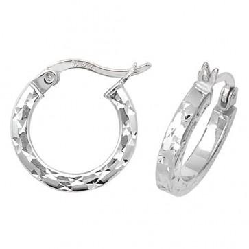 Sterling Silver 15MM Diamond Cut Square Tube Hoop Earrings