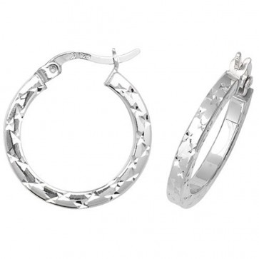 Sterling Silver 20MM Diamond Cut Square Tube Hoop Earrings
