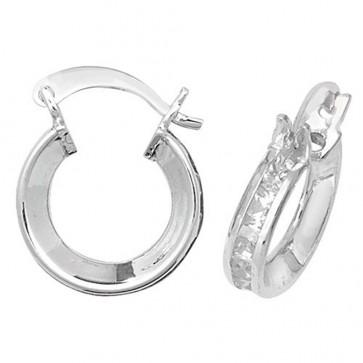 Sterling Silver 12MM Cubic Zirconia Hoop Earrings
