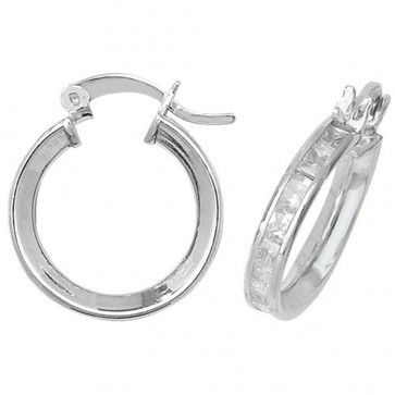 Sterling Silver 16MM Cubic Zirconia Hoop Earrings