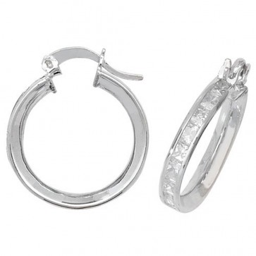 Sterling Silver 19MM Cubic Zirconia Hoop Earrings