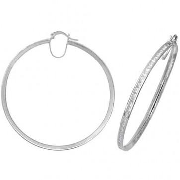 Sterling Silver 56MM Cubic Zirconia Hoop Earrings