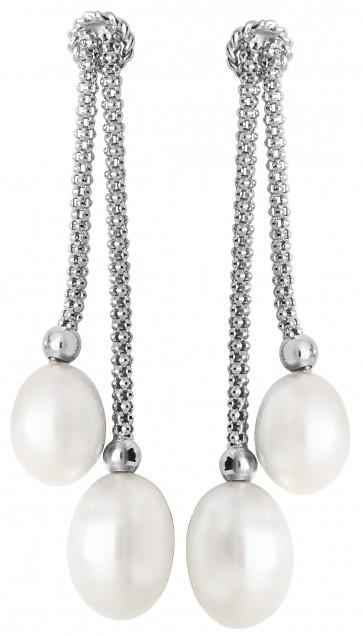 Sterling Silver Freshwater Pearl Double Drop Earrings