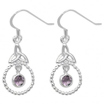 Sterling Silver Amethyst Celtic Drop Earrings