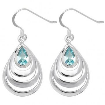 Sterling Silver Blue Topaz Celtic Drop Earrings