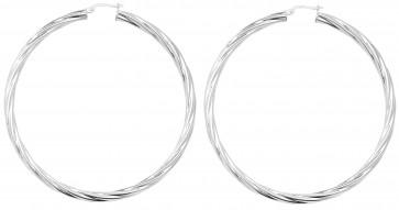 Sterling Silver 72MM Twisted Hoop Earrings