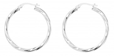 Sterling Silver 29MM Twisted Hoop Earrings
