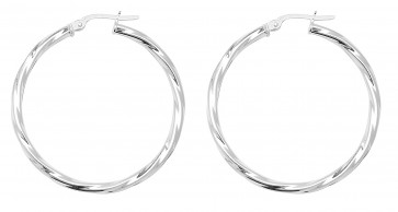 Sterling Silver 34MM Twisted Hoop Earrings