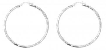 Sterling Silver 44MM Twisted Hoop Earrings