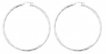 Sterling Silver 55MM Twisted Hoop Earrings