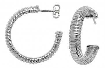Sterling Silver 30MM Rhodium Plated Hoop Earrings