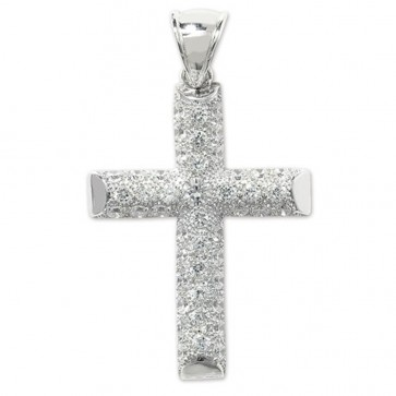Children's Sterling Silver Large Bling Cross Pendant On A Curb Necklace