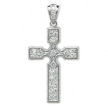 Children's Sterling Silver Bling Cross Pendant On A Curb Necklace