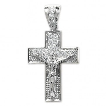 Children's Sterling Silver Bling Crucifix Pendant On A Curb Necklace