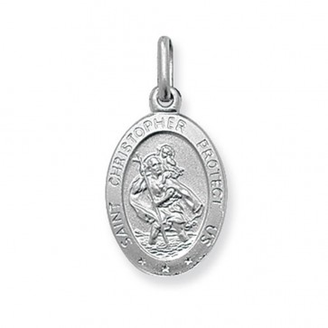 Men's Sterling Silver Small Solid Oval St Christopher Pendant On A Black Leather Cord Necklace