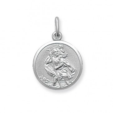Men's Sterling Silver Small Round St Christopher Pendant On A Black Leather Cord Necklace