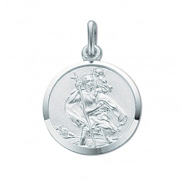 Sterling Silver Medium Round St Christopher Pendant On A Snake Necklace