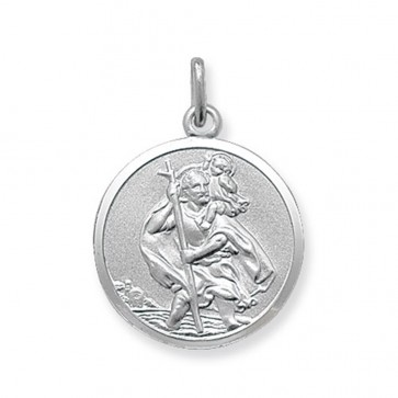 Children's Sterling Silver Large Round St Christopher Pendant On A Curb Necklace