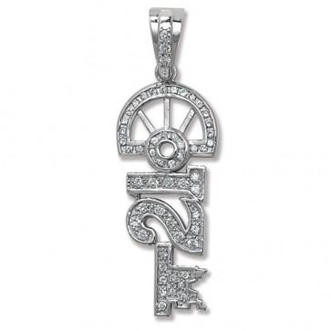 Sterling Silver Cubic Zirconia 21st Key Pendant On A Snake Necklace