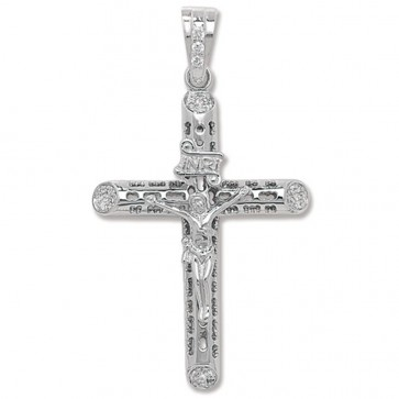 Men's Sterling Silver Small Bling Crucifix Pendant On A Black Leather Cord Necklace