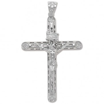 Men's Sterling Silver Large Bling Crucifix Pendant On A Black Leather Cord Necklace