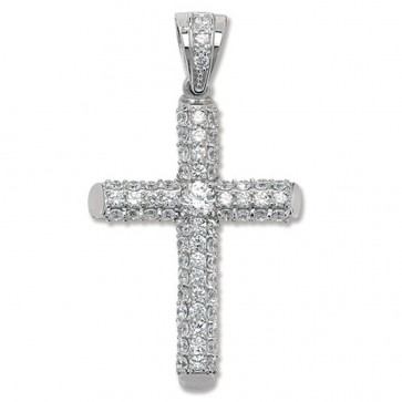 Sterling Silver Small Bling Cross Pendant On A Snake Necklace
