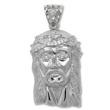 Men's Sterling Silver Cubic Zirconia Jesus Head Pendant On A Black Leather Cord Necklace