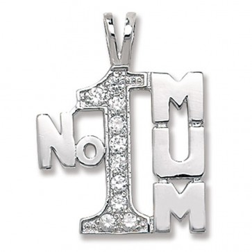Sterling Silver Cubic Zirconia Number 1 Mum Pendant On A Snake Necklace