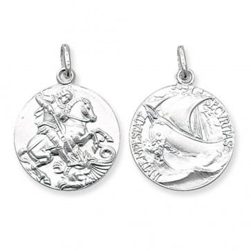 Children's Sterling Silver Round Double Sided St George Pendant On A Curb Necklace