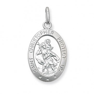 Sterling Silver Large Solid Oval St Christopher Pendant On A Snake Necklace