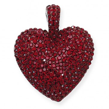 Men's Sterling Silver Red Crystal Heart Pendant On A Black Leather Cord Necklace