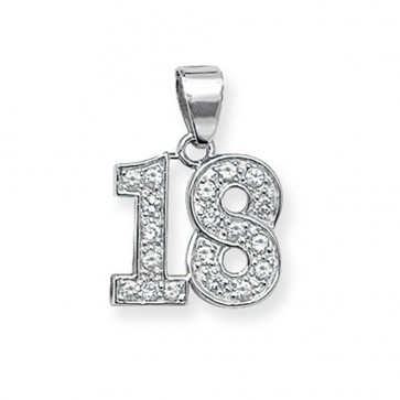 Children's Sterling Silver 18th Pendant On A Curb Necklace