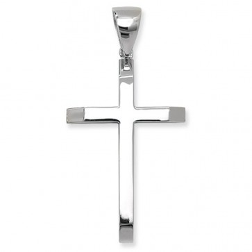 Men's Sterling Silver Large Plain Cross Pendant On A Black Leather Cord Necklace