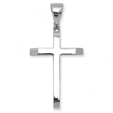 Sterling Silver Large Plain Cross Pendant On A Snake Necklace