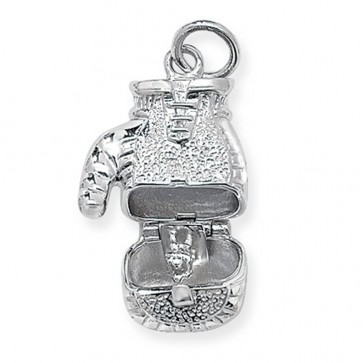 Children's Sterling Silver Opening Boxing Glove Pendant On A Curb Necklace