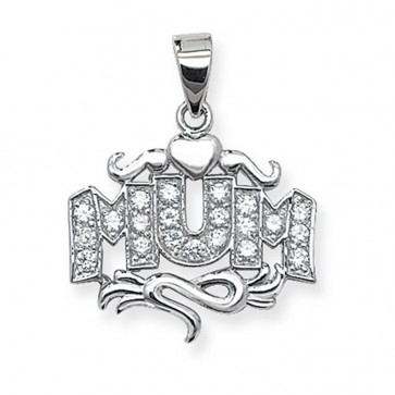 Sterling Silver Cubic Zirconia Set Mum Pendant On A Snake Necklace