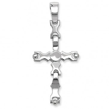 Sterling Silver Small Cross Pendant On A Snake Necklace