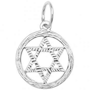 Men's Sterling Silver Small Star Of David In A Circle Pendant On A Black Leather Cord Necklace