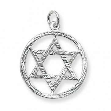 Men's Sterling Silver Large Star Of David In A Circle Pendant On A Black Leather Cord Necklace