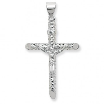 Men's Sterling Silver Large Crucifix Pendant On A Black Leather Cord Necklace