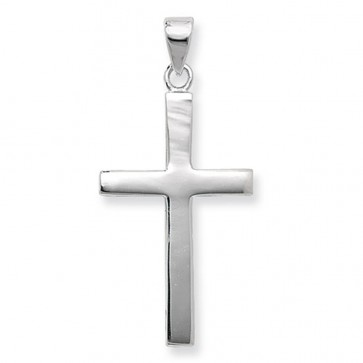 Children's Sterling Silver Medium Plain Cross Pendant On A Curb Necklace