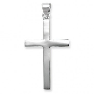 Children's Sterling Silver Extra Large Plain Cross Pendant On A Curb Necklace