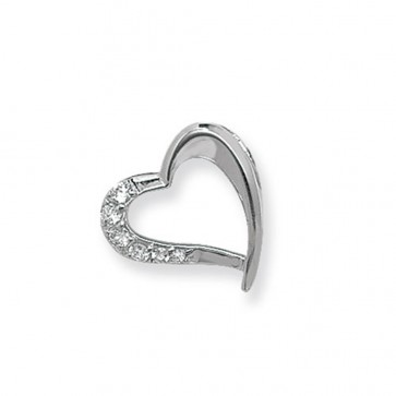 Sterling Silver Cubic Zirconia Open Heart Pendant On A Snake Necklace