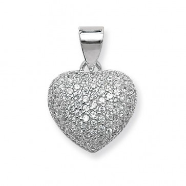 Sterling Silver Small Cubic Zirconia Heart Pendant On A Snake Necklace