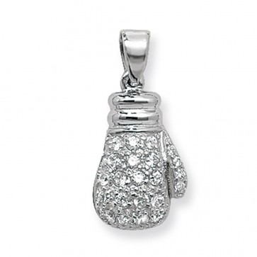 Men's Sterling Silver Cubic Zirconia Boxing Glove Pendant On A Black Leather Cord Necklace