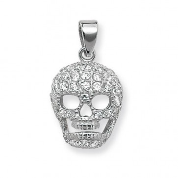 Sterling Silver Cubic Zirconia Skull Pendant On A Snake Necklace