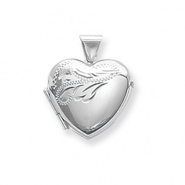 Children's Sterling Silver Small Half Engraved Heart Locket On A Curb Necklace