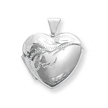 Sterling Silver Large Half Engraved Heart Locket On A Snake Necklace